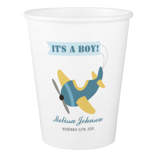 Airplane Blue Yellow Boy Baby Shower Paper Cup