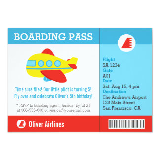 Airplane Boarding Pass Birthday Party 11 Cm X 16 Cm Invitation Card