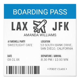 Airplane Boarding Pass Farewell Party Card