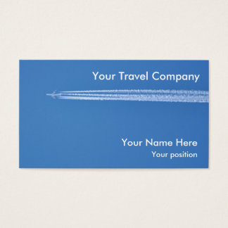 Airplane contrails air travel business card