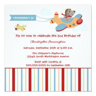 Airplane dog pilot boy's birthday party invitation