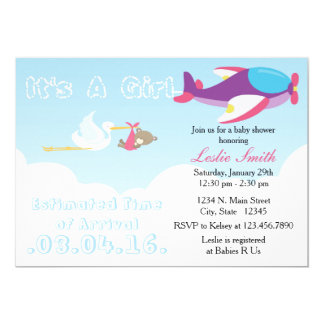 Airplane ETA Stork Baby Shower Invitation