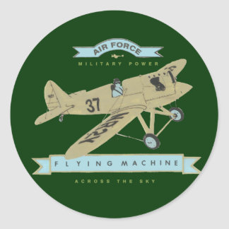 Airplane fly classic round sticker