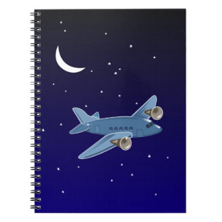 Airplane flying at night with moon & stars. Pilot Notebooks