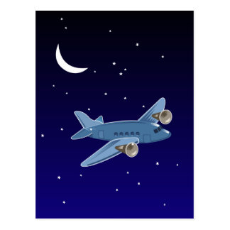 Airplane flying at night with moon & stars. Pilot Postcard