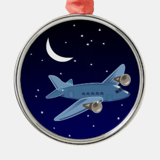 Airplane flying at night with moon & stars. Pilot Silver-Colored Round Decoration