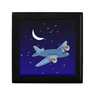Airplane flying at night with moon & stars. Pilot Small Square Gift Box