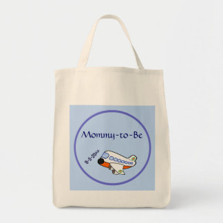 Airplane for Baby Shower Grocery Tote Bag