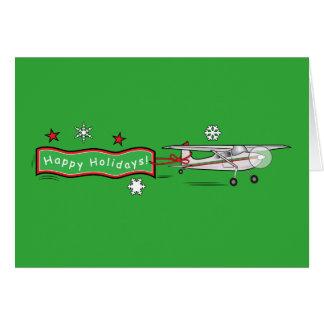 Airplane Happy Holidays Christmas Greeting Card