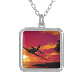 Airplane in a Tropical Sunset Custom Necklace