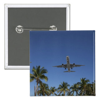 Airplane landing in Miami 15 Cm Square Badge