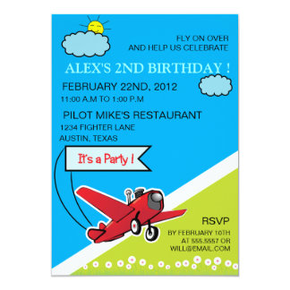 Airplane Landing - kids birthday invitation-4 Card