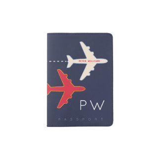 airplane & name, american passport cover to travel