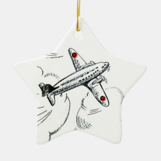 Airplane | Old Fashioned Drawing Aviation Christmas Ornament