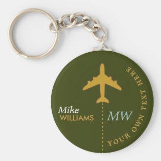airplane on greenish keychain with name