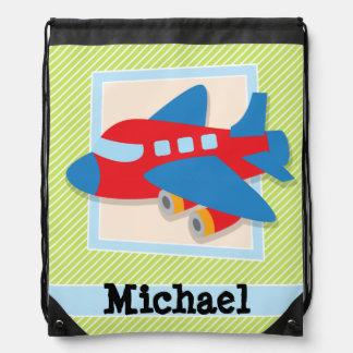 Airplane on Lime Green & White Stripes Drawstring Bag