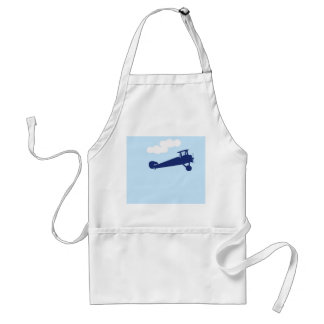 Airplane on plain pastel blue background. standard apron
