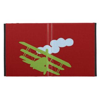 Airplane on plain red background iPad folio case