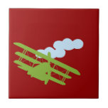 Airplane on plain red background. tiles
