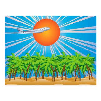 Airplane over Tropic Island 2 Postcard