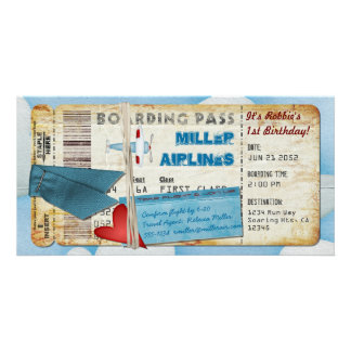 Airplane Party Boarding Pass Card