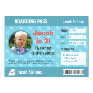 Airplane Pattern Boarding Pass Birthday Party 11 Cm X 16 Cm Invitation Card