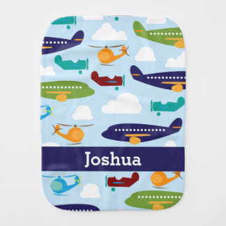 Airplane Personalized Boy's Baby Burp Cloth