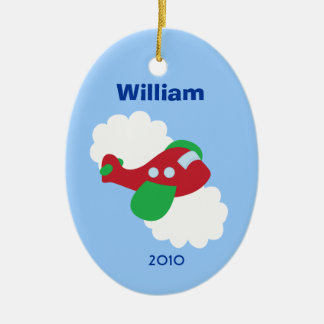 AIRPLANE Personalized Name Christmas Tree Ornament