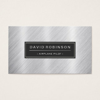 Airplane Pilot - Modern Brushed Metal Look Business Card