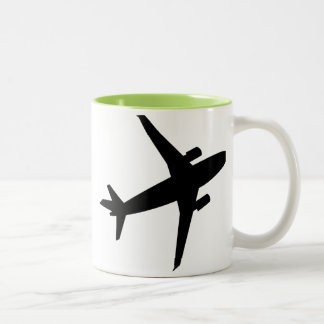 Airplane Silhouette; Cool Two-Tone Coffee Mug