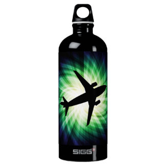 Airplane Silhouette; Cool Water Bottle