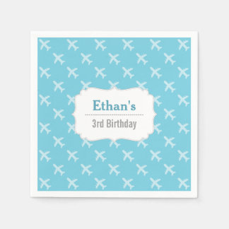 Airplane Silhouette Pattern Birthday Party Paper Napkins