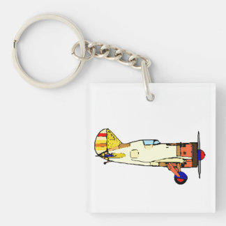 Airplane Single-Sided Square Acrylic Key Ring