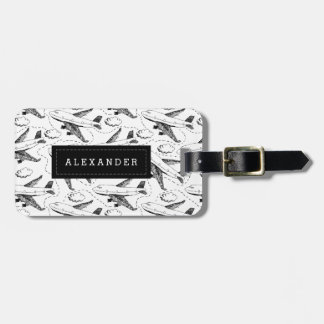 Airplane Sketch Personalized Luggage Tag