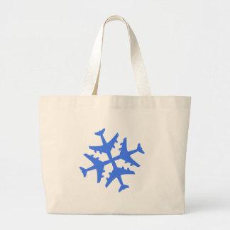 Airplane Snowflake Large Tote Bag