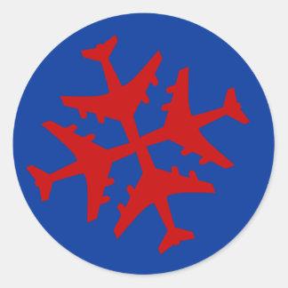 Airplane Snowflake Round Sticker