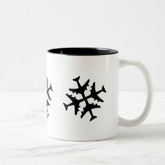 Airplane Snowflake Two-Tone Coffee Mug