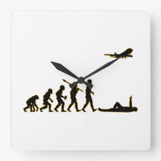Airplane Spotting Square Wall Clock