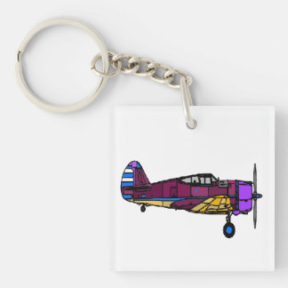 Airplane Square Acrylic Keychain