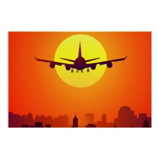 Airplane & Sunset Poster