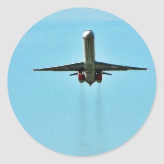 Airplane Taking Off On Airport Classic Round Sticker
