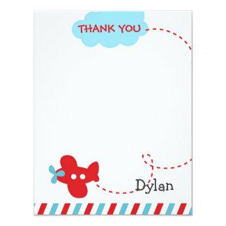 Airplane Thank You Card - Plane Aeroplane 11 Cm X 14 Cm Invitation Card