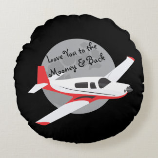 Airplane throw pillow, to the Mooney & back Round Cushion