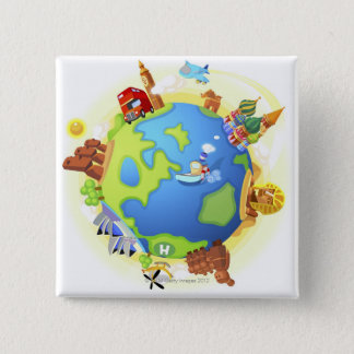 Airplane traveling various famous places of the 15 cm square badge