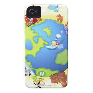 Airplane traveling various famous places of the iPhone 4 cases