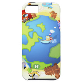 Airplane traveling various famous places of the iPhone 5 cover