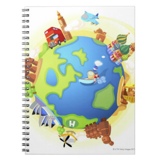 Airplane traveling various famous places of the note books