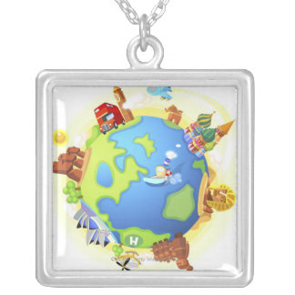 Airplane traveling various famous places of the silver plated necklace