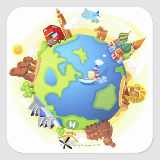 Airplane traveling various famous places of the square sticker