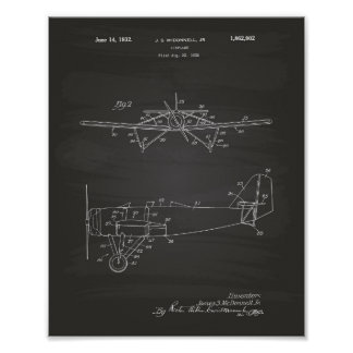 Airplane Type 2 1932 Patent Art Chalkboard Poster